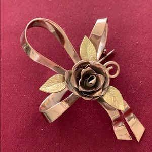 Vintage Coro copper and gold tone brooch pin